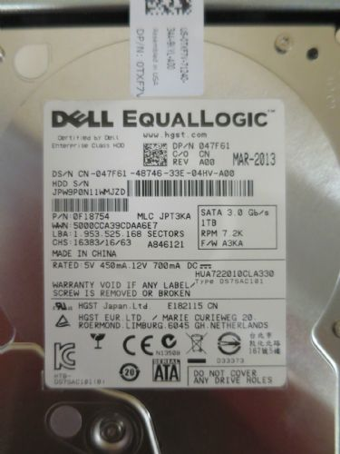 "NEW EQUALLOGIC 750GB SATA 7.2K  3.5"" DRIVE HUA721075KLA330 YDRJ4 T957J"